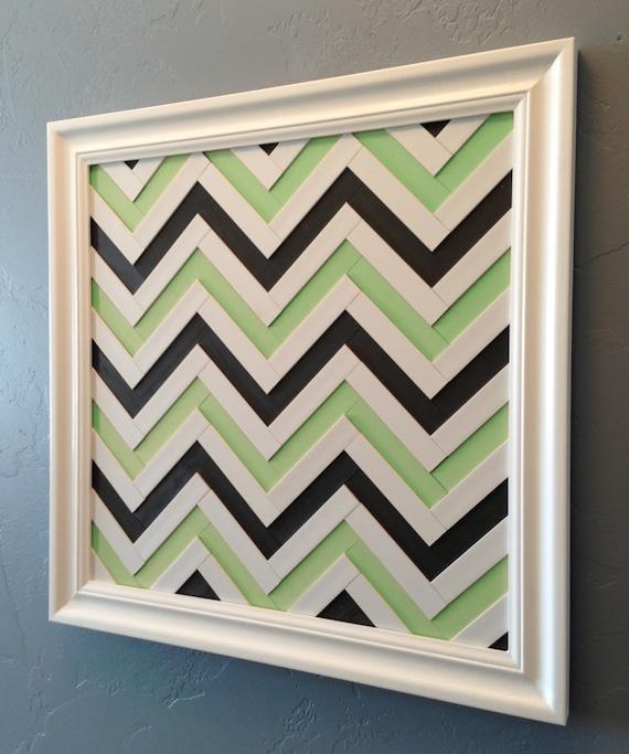 Chevron Wood Wall Decor : Items similar to chevron art mint green gray