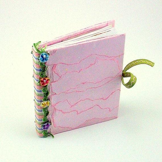Pink mini album journal sketchbook handmade