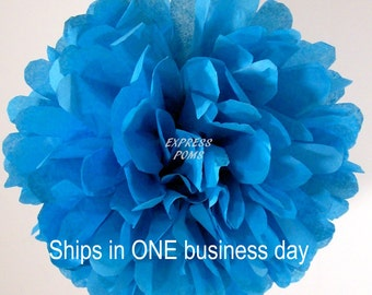 Turquoise Tissue Paper Pom Pom - 1 Large Pom - 1 Piece - Ships within ONE Business Day