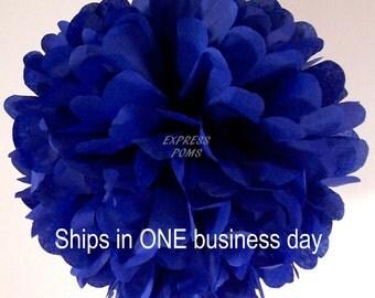 Dark Blue Tissue Paper Pom Pom - 1 Medium Pom - 1 Piece - Ships within ONE Business Day