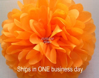 """Tangerine Tissue Paper Pom Pom Large 17"""" - 1 Piece - Ships within ONE Business Day"""