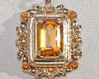 Amber Colored Glass Pendant Emerald Cut