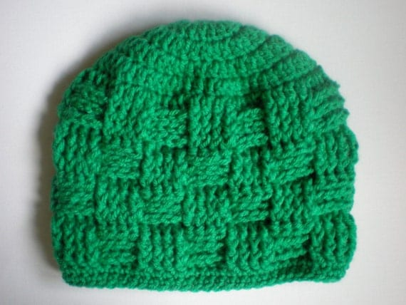 How to crochet a basket weave beanie : Items similar to pattern triscuit hat basket weave