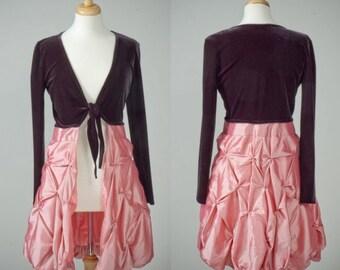 Womens repurposed black velvet bolero frock taffeta skirt S