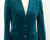 Green Velvet Blazer-Medium