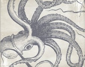 "Octopus Engraving of Cephalopod on Antique Paper High-Quality, Archival 8"" x 10"" Print"