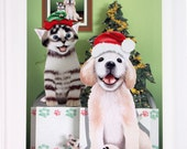 Pop up Kitten and Puppy Christmas card Happy Christmas