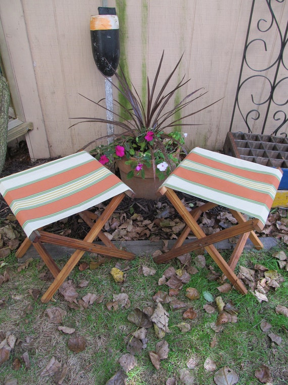 Pair of  Vintage Wooden Folding  Camp/Beach Stools