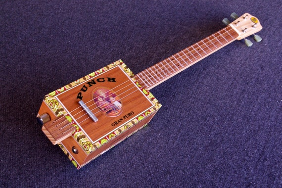 Cigar Box Guitar / Baritone Ukulele - Acoustic / Electric 4-String - PUNCH - CBG - Slide Guitar