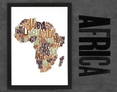 Africa Fontmap - Limited edition typographic map digital print, 297x420mm