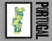 Portugal Fontmap - Limited edition typographic map digital print, 297x420mm