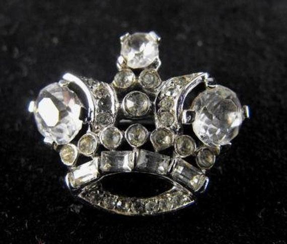1948 Alfred Philippe Trifari Clear Rhinestone Sterling Crown Pin 85.00 obo