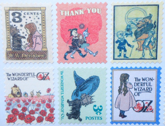 Wizard of Oz postage stamp stickers, Ver.1.