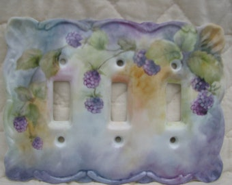 Triple Switchplate cover with hand painted blackberries