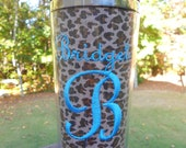 Cheetah / Animal Print Personalized Embroidered Stainless Steel Travel Coffee Tumbler
