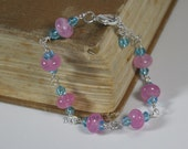 Cloudy pink and blue crystal beaded silver wire bracelet Handmade by Beadtrisslane -Ready to Ship-