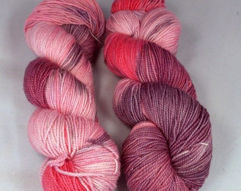 Parts of Pink on Merino Max SW Merino Hand dyed fingering weight sock yarn