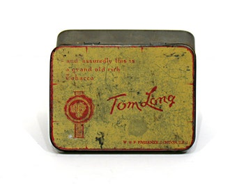 Vintage Tobacco Tin - Tom Long Tobacco Tin - Advertising Tin - British Tobacco Tin - W. F. Faulkner London - Imperial Tobacco Co.