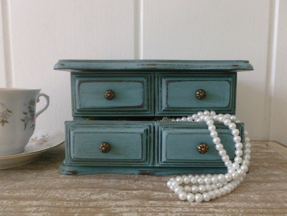 Small Turquoise Distressed Jewelry Box