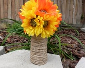 Daisy Bouquet in Mixed Orange and Yellow - (2 AVAILABLE) Perfect for Rustic Wedding
