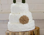 SET Burlap Roses and Moss Cake topper