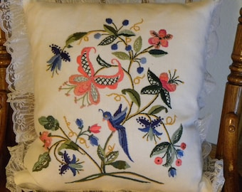 Pillow Blue Bird Embroidered by Hand Pillow New Never Used Couch Pillow Decor Pillow