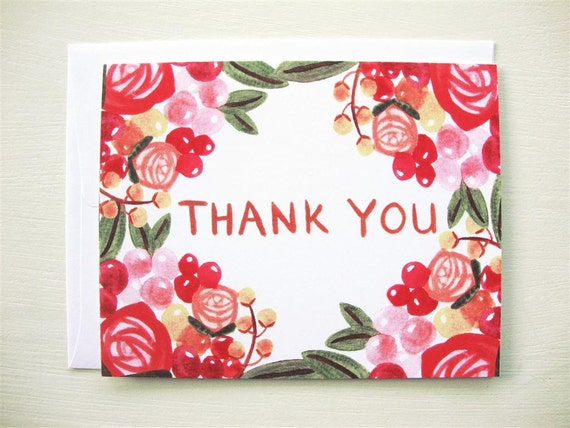 SALE - 6 Flowery Thank You Cards (set of 6)