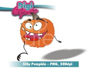 Halloween Clip Art - Funny Face Pumpkin