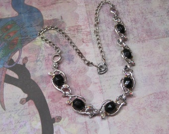 Vintage Black Glass And Rhinestone Necklace