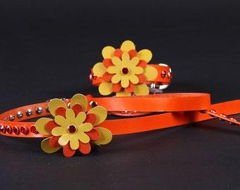 Orange Pearl Dog Collar & Leash with Collar Charm