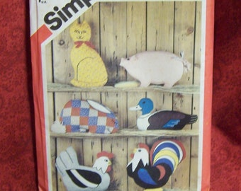 Animal pattern, vintage Simplicity 80's sewing pattern for rooster, duck, chicken,rabbit, pig or cat