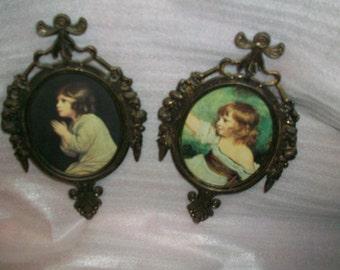 "Brass Victorian Frames,  Set of 2,  Vintage 80s,  Brass frames 6"" tall"