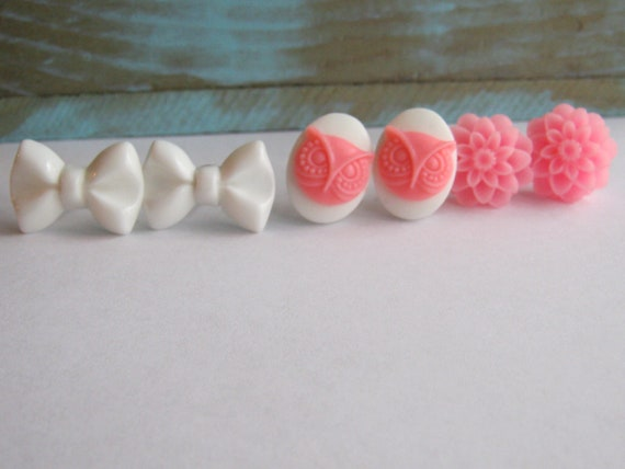 Lot of 3 Pink and White Earrings Shabby Chic Collection - Bow Flower Owl