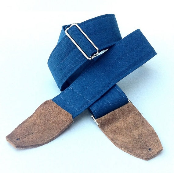 Solid Soldier Blue Sturdy Guitar Strap with Caramel Brown Suede Ends, and Nickel Plated Hardware