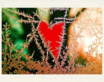 Bright Red Heart on Frosty Window handmade photo note card