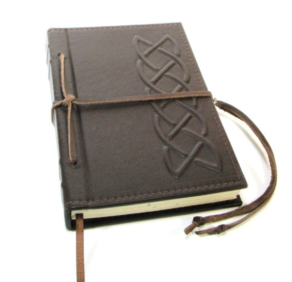 Refillable Leather Journal with Celtic Knot Design