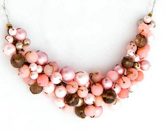 Brown Pink Beaded Necklace with opals pearls smokey quartz, Pink Multi Gemstone Cluster Necklace, Wedding Necklace, Bridal Accessories