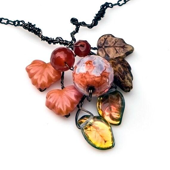 Peach Pendant Necklace,  Gemstone Necklace,  Nature Jewelry