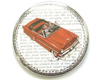 Vintage Pocket Mirror - Red 50s Car retro advertisement vintage motoring ad