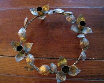 vintage tole  candle holder wreath made of metal