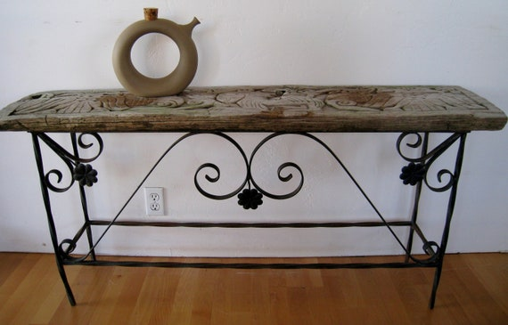 Vintage Rustic Carved Wood And Wrought Iron Console Table Or