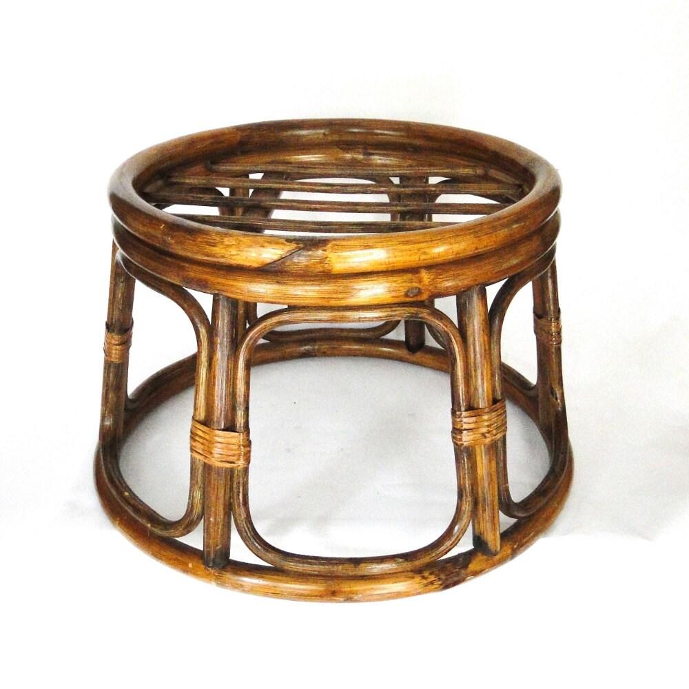 Vintage Rattan Ottoman Bamboo Stool Boho Chic By