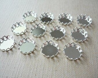 12 pcs Brass Lace Cabochon Settings - Lead Free - Shiny Silver Color - 10mm