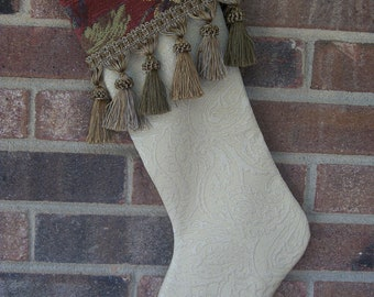 Handmade Cream and Burgandy Christmas Stocking w/ Fringe
