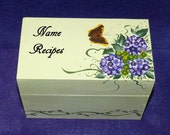Decorative Wood Recipe Card Box Painted Wood Box Wedding Hydrangea Personalized Butterfly Recipe Box Bridal Shower Gift