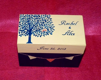 Decorative Recipe Box Recipe Card Holder Hand Painted Personalized Recipe Box Custom Wedding Tree Love Birds Wedding Bridal Shower Gift