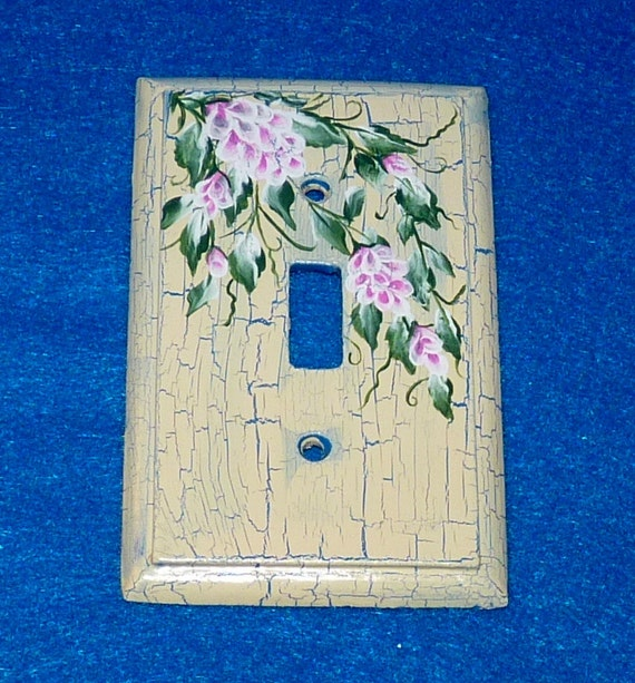 Decorative Hand Painted Shabby Chic Light Switch Plate Wood Wall Cover Single Decorative