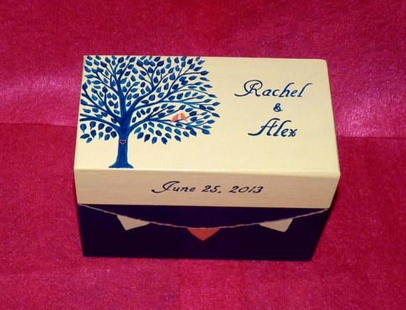 Wedding Guest Book BOX Alternative Vintage Decorative Wood Box- Hand Painted Wedding Keepsake Box 3x5 Cards Made to Order