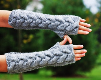 hand knit whole wool long arm wrist warmers fingerless chunky cable fishermen mittens warm gift grey gray women men girl boy children unisex
