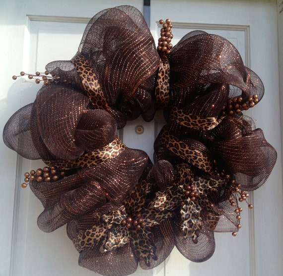 items similar to brown leopard print deco mesh wreath on etsy. Black Bedroom Furniture Sets. Home Design Ideas